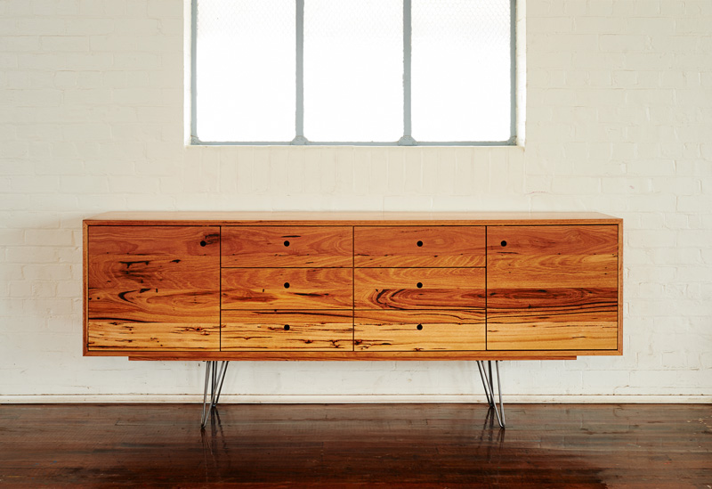Handmade reclaimed Messmate timber sideboard with steel hairpin legs and circle finger pull detail | Auld Design sustainable handcrafted
