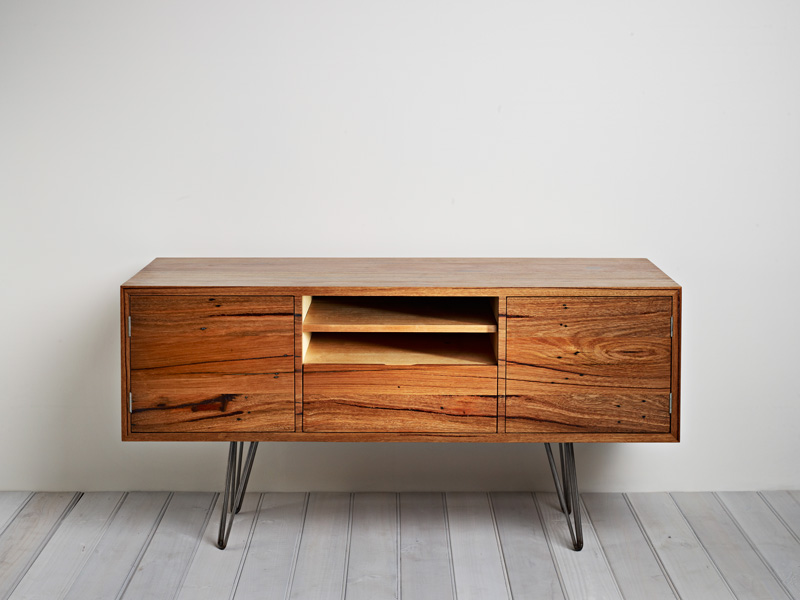 Handcrafted entertainment unit sold Australian hardwood sustainable sourced timber hairpin legs