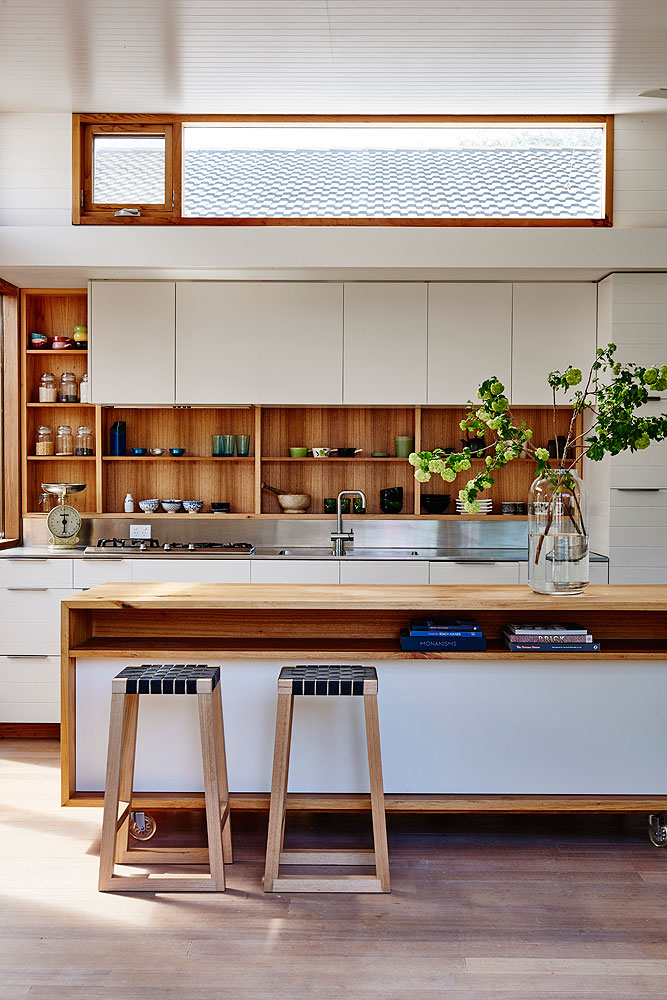 Beautiful custom designed timber kitchen joinery and timber kitchen island for Irons McDuff Barwon Heads home