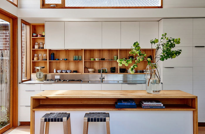 Custom designed timber kitchen cabinets and kitchen island by Auld Design for Irons McDuff with sustainable local timber. Barwon Heads.