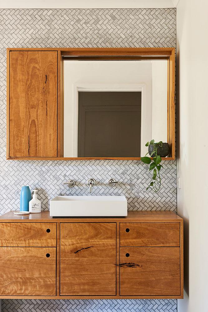 Custom designed furniture - floating timber bathroom unit - Barwon heads, Geelong, Melbourne, Victoria