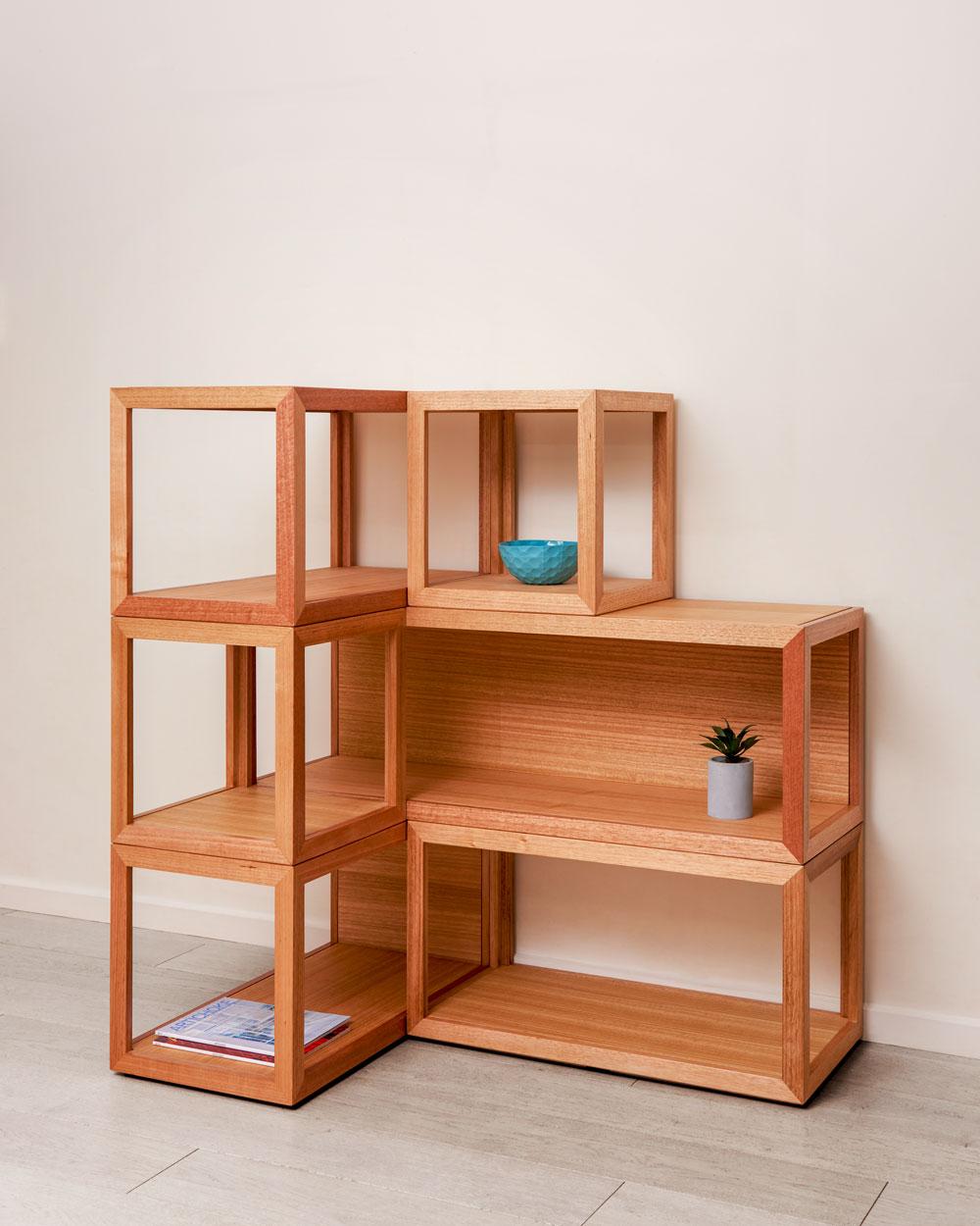 Cubis shelf system - corner arrangement - custom designed furniture - Geelong Melbourne Victoria