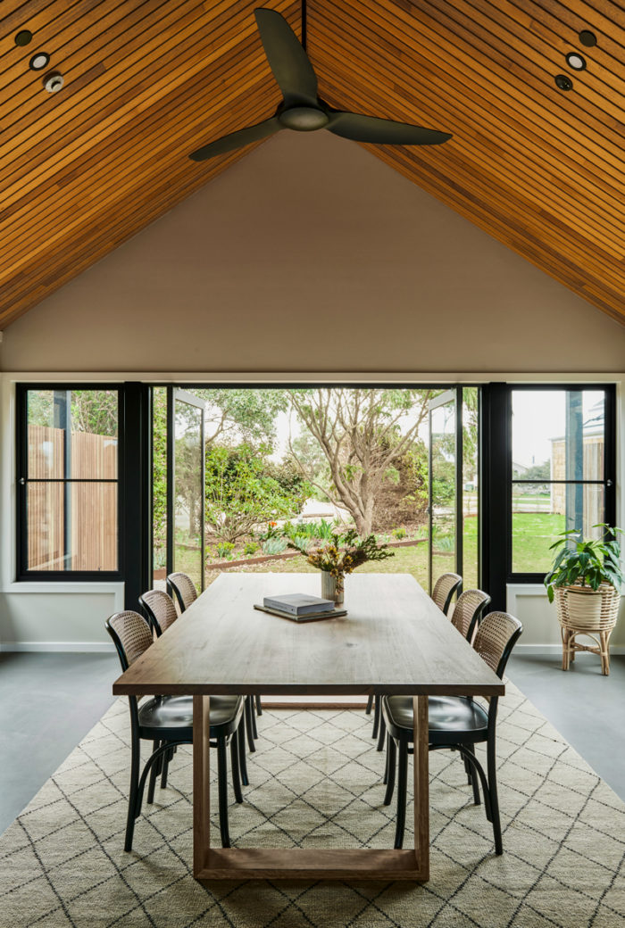 Lon Retreat custom designed sustainable locally sourced timber dining room table. Country Victoria