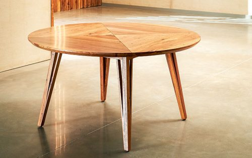 Custom designed furniture - Geelong, Melbourne, Victoria - locally sourced reclaimed timber round table